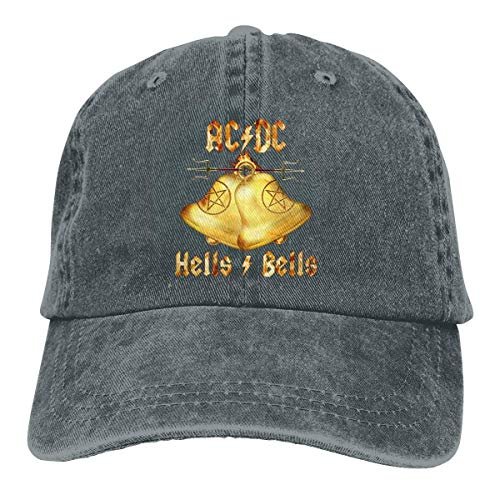 ShixiaoCC AC DC Hells Bells Adjustable Tour Cotton Washed Denim Caps Hats Black