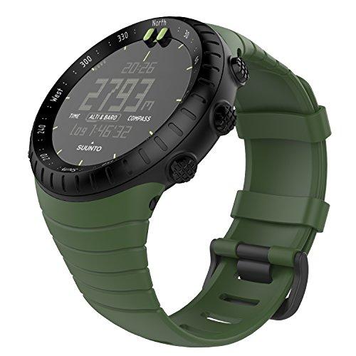 MoKo Suunto CORE Watch Cinturino, Braccialetto di Ricambio in TPU Morbido con Gancio Metallico con Connettore Biella per Suunto CORE Smart Watch, per Polso 5.51 -9.06  (140mm-230mm), Verde Scuro