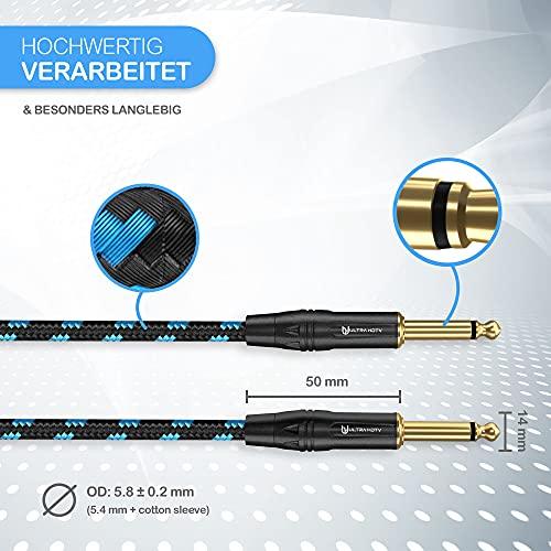 Cable para Guitarra y Instrumentos Macho a Macho de Ultra HDTV   Jack de 6.3 mm con Cable Trenzado de Nylon   Adaptadores de Metal   Conectores Dorados   Guitarra, Bajo, Teclado, Amplificador   5 m