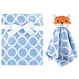 Hudson Baby Unisex Baby Plush Blanket with Security Blanket, Blue Fox, One Size