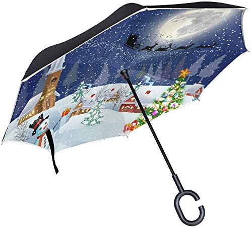 Dubbele Laag Omgekeerde Paraplu's Kerstboom Sneeuwman Omgekeerde Paraplu Winddicht Waterdicht voor Auto Outdoor Reizen Volwassen Mannen Vrouwen