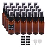 BPFY 1 oz 24 Pack Amber Plastic Spray Bottles for Hand Sanitizer, Essential Oil, Perfume, Aromatherapy, Alcohol, Travel Bottles With Fine Mist Sprayer, Funnel, Chalk Labels, Pen