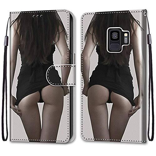 Nadoli Handyhülle Leder für Samsung Galaxy S9,Bunt Bemalt Kreative Sexy Dame Trageschlaufe Kartenfach Magnet Ständer Schutzhülle Brieftasche Ledertasche Tasche Etui