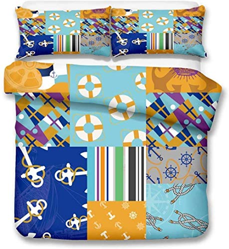 XZHYMJ 3D Digital Printing Mediterranean Style Anchor Nautical Series Bedding Set Duvet Cover Sets 7 Double-Double_3