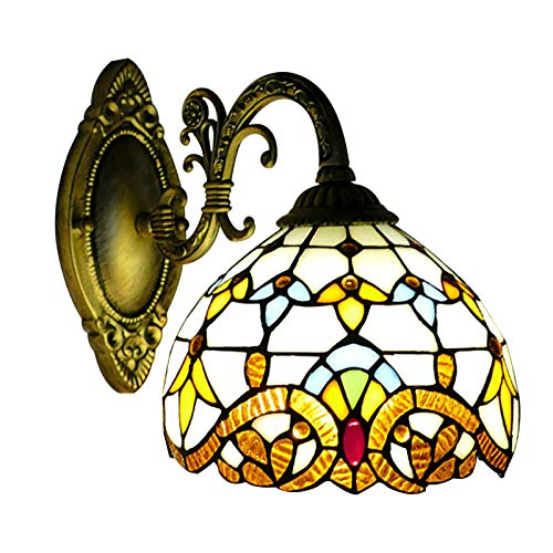 Lámpara de pared retro, estilo rústico Tiffany, lámpara de pared para dormitorio, lámpara de noche con interruptor de cordón, pantalla de cristal pintado para salón, estudio, loft, comedor, E27