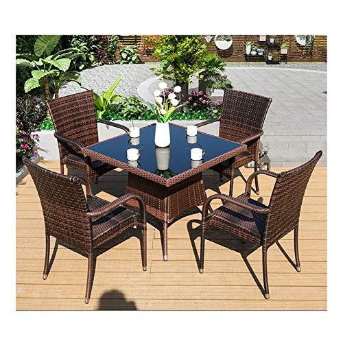 HLZY Conjunto de Muebles de Patio y Silla de Mimbre Rat Patio Muebles Rattan Garden Muebles Sets Patio Rattan Mesa de Comedor Set Mimbre Weave Coffer Table Patio Conversación