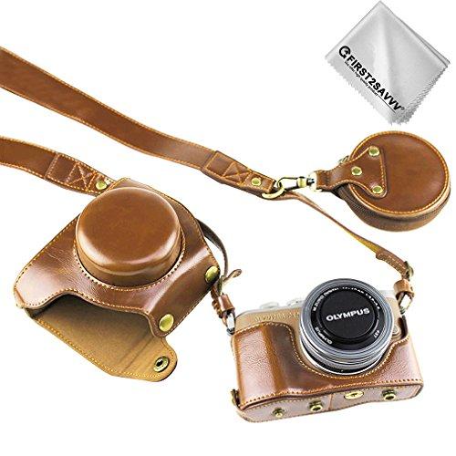 FIRST2SAVVV 褐色 オリンパス Olympus PEN E-PL10 E-PL9 (14-42mm) F3.5-5.6 Lens 専用 防水 PU レザー 一眼レフ カメラバッグ カメラケース ハンドストラップ 付き +クリーニングクロス XJD-EPL9-HH09