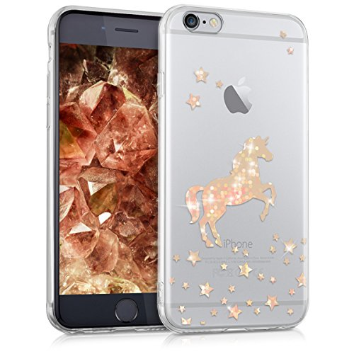 kwmobile Hülle kompatibel mit Apple iPhone 6 / 6S - Handyhülle Silikon Hülle - Einhorn Rosegold Transparent