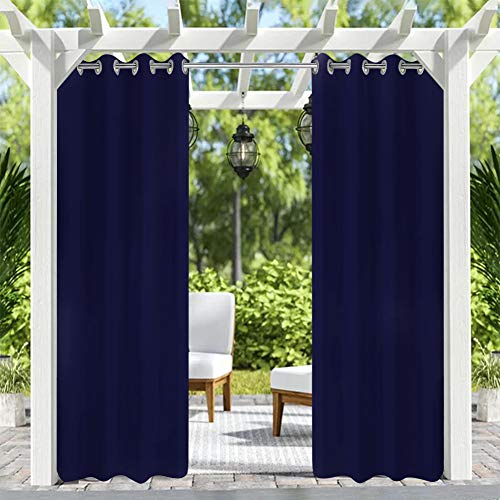 Pro Space Outdoor Curtains outdoor curtains for patio curtains Top Grommets Fabric Heavy Duty Indoor Panel for Porch Balcony Pergola Lanai Canopy Tent Gazebo Window, 50 Inch Wide by 96 Inch Long, Navy