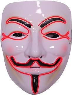 Costume Light Up Adult Masks - Guy Fawkes Anonymous Hacker Masks - 3 Awesome LED Modes