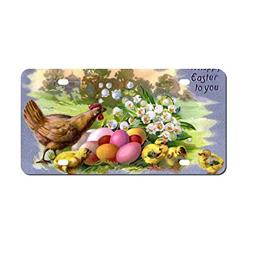 Vintage Easter Chicks And Eggs Antique Front Vanity Plate,Aluminum Car Tag Holder,Licesen Plate Frame,Auto Accessory Gifts