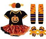 YiZYiF Neugeborenes Baby Mädchen Bekleidung Set Kürbis Halloween Kostüm Kurz Strampler Overall mit Tütü Röckchen + Stirnband Kürbis 0-3 Monate