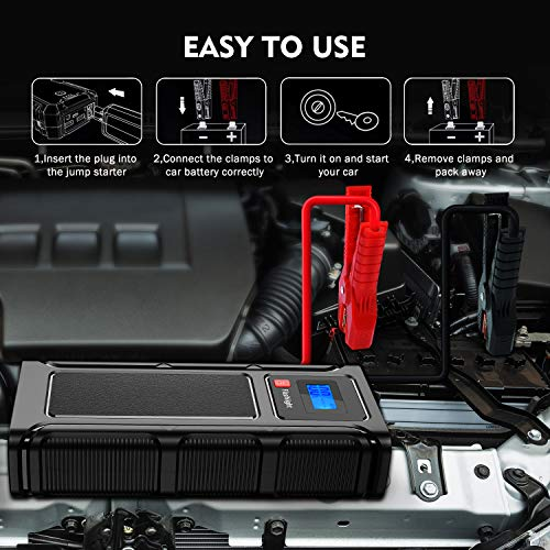 Teaisiy Car Jump Starter, Power Bank 18000mAh 12V 1000 A Peak Portable Auto Car Battery Booster Power Pack with Quick…