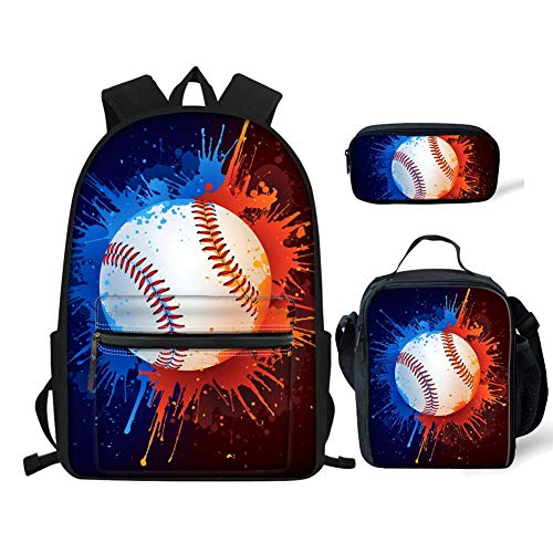 chaqlin Popular Baseball Backpack Children Cartoon School Bag + Food Lunchbox + Pencil Case for Boys Girls