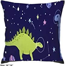 Square Cotton Decorative Throw Pillow Cover Protective Pillow Case with Invisible Zipper for Sofa Bench Daybed Space Dino Fabric Space Dinosaurs 16inch 16inch