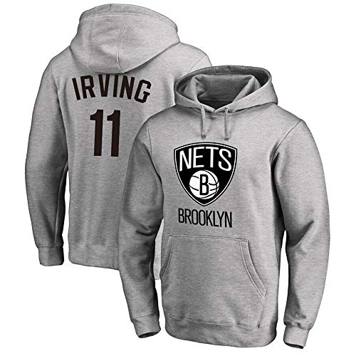 Sudadera para Hombre Fans de la NBA Jersey Brooklyn Nets Kyrie Irving Sudadera con Capucha con Mangas largas con cordón Casual Jersey cómodo S-XXXL Gris, S