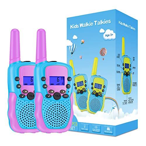 Kearui Spielzeug 3-12 Jahren Junge, Walkie Talkies für Kinder 8 Kanal Funkgerät mit Hintergrundbeleuchteter LCD-Taschenlampe, 3 Meilen Reichweite für Abenteuer im Freien, Camping, Wandern (Violett)