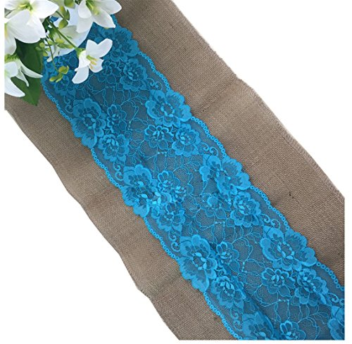 Huachnet Natural Jute Burlap Hessian Table Runner with Lace Trim Rustic Wedding Party Decor Sewing Craft 30275CM (3 Yard) (White Style)