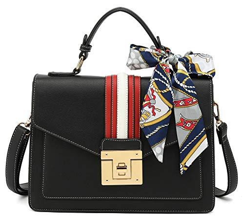 Scarleton Medium Top Handle Satchel Handbag for Women, Vegan Leather Crossbody Bag, H206501, Black