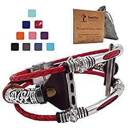Smatiful Bling Correas Bands para Womens and Girls, Adjustable Pulseira Accessory Thin Genuine Leather Exercise Watch Band for Apple Watch 42mm & 44mm,Red
