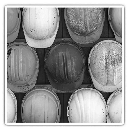 Impresionantes pegatinas cuadradas (juego de 2) 7,5 cm BW – Casco duro de construcción PPE calcomanías divertidas para portátiles, tabletas, equipaje, reserva de chatarras, frigoríficos, regalo fresco #42008