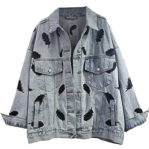 LETAMG Feder Retro Stickerei Feder Muster Lose-Fit Mittellangen Jeans Mantel Damen Langarm Denim Jacke Lässige Outwear-Blau_M.