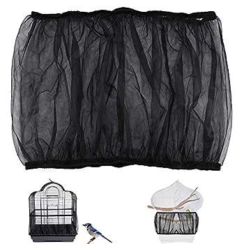 YOUKCDT Housse universelle pour cage à oiseau 60 x 35 cm Grand attrapeur de graines pour perroquet réglable en maille nylon lavable Jupe panier doux et aéré Noir