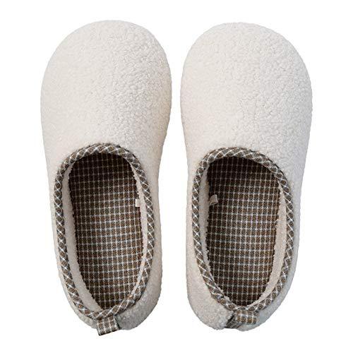 Llanura de Vivienda del Piso de Madera Antideslizante Cubierta de Silencio Bolsa Impermeable Pareja Masculina y Femenina con Zapatillas de algodón Grueso (Color : Smoke Pink, Size : 10/10.5 UK)