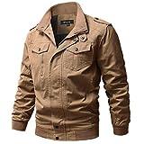 WULFUL Men's Cotton Military Jackets Casual Outdoor Coat Windbreaker Jacket Khaki