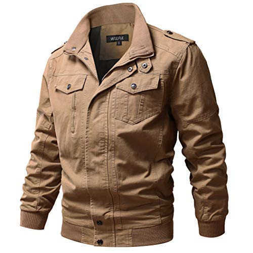 WULFUL Men's Cotton Military Jackets Casual Outdoor Coat Windbreaker Jacket Khaki L