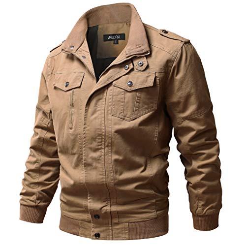 WULFUL Men's Cotton Military Jackets Casual Outdoor Coat Windbreaker Jacket Khaki XL