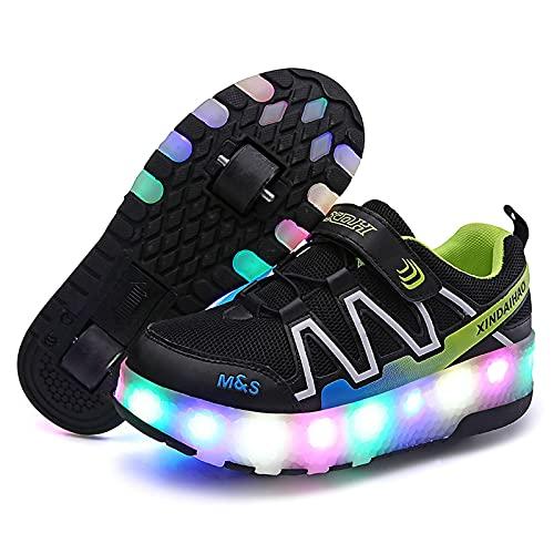 AMYMGLL Patines Recargables Color Luz Dos en Uno Deportes Zapatos Adultos Niños Al Aire Libre, Negro-32