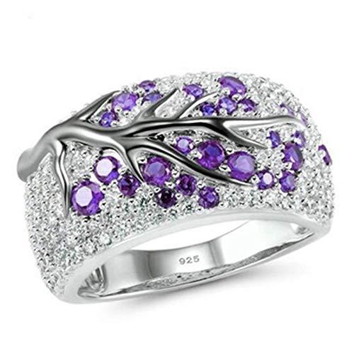 LINYIN 2pcs Anillo Creativo Color separación Rama Anillo incrustado Diamante Mujer joyería de Mano Anillo de Pareja 10号 CR6328 Purple Diamond