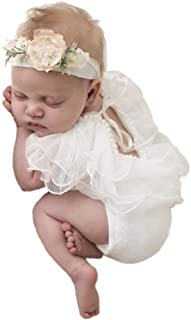 Newborn Baby Girl Clothes Props for Photography Accessories New Bebe Party Princess Dress Lace Ruffled Rompers White (Headwear is not Included)
