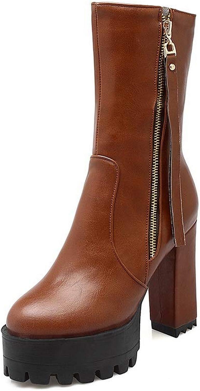 AN Womens Square Heels Chunky Heels Platform Urethane Boots DKU02446