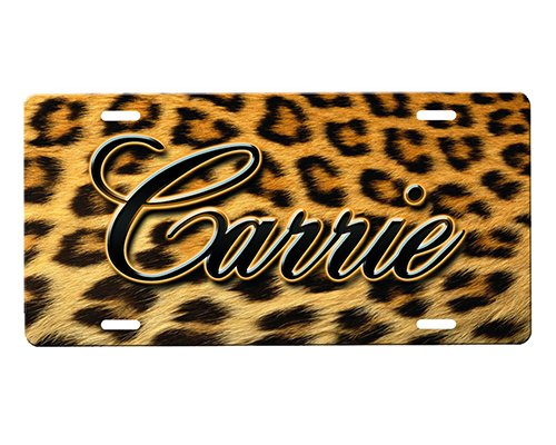 onestopairbrushshop Cheetah Print License Plate