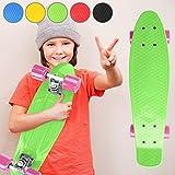 Physionics Penny Skateboard - 22' (57cm), Rodamientos ABEC 5, Color a Elegir, Máx. 100kg - Monopatín Retro, Skateboard Retro, Cruiser Retro - Verde