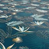 Wachstuchtischdecke abwaschbar Garten Tischdecke Wachstuch Rund Oval Eckig Indoor Outdoor Blätter Gold Blau 100x140cm - 9