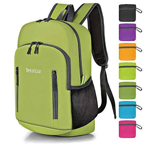 Bekahizar 20L Ultra Lightweight Backpack Foldable Hiking Daypack Rucksack Water Resistant Travel Day Bag for Men Women Kids Outdoor Camping MountaineeringWalking Cycling Climbing (Bright Green)