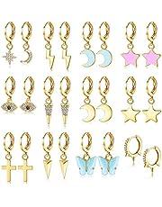 CASSIECA 12 Pares Pendientes de Aro Pendientes Colgantes de Estrella Luna Mariposa Cruces Pendientes Mini Pendientes de Aro Huggie Simples Pendientes Colgantes Asimétricos para Mujer Niña Adolescentes