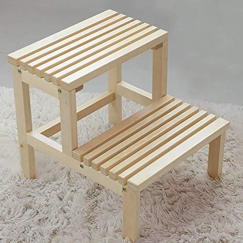 Yjll Trapkruk 2-traps houten ladder/hardhouten trapkruk/bedtraps/plantenstandaard geen montage vereist/15 7 x 17 3 x 16 inch