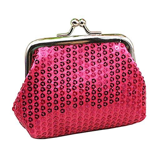 Portamonete da donna con paillette, pochette scintillante con pratica chiusura Rose-Red