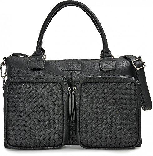 MIYA BLOOM, Damen Handtaschen, Schultertaschen, Henkeltaschen, Aktentaschen, Umhängetaschen, 41 x 29 x 10 cm (B x H x T), Farbe:Schwarz