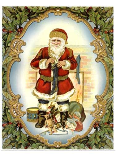 dpr. Fensterbild Nostalgie Weihnachtsmann Nikolaus mit Strumpf Weihnachten Fenstersticker Fensterdeko Weihnachtsdeko