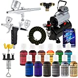 Master Airbrush 2-Airbrush Deluxe Cake Decorating Airbrush Kit with 12 - .7 fl oz Chef Master Airbrush Food Colors and TC-20T Tank Compressor, 1-Each 6 Foot Air Hoses & Airbrush Holder