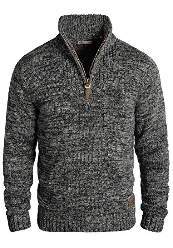 !Solid Philostrate Herren Strickpullover Troyer Grobstrick Pullover Aus 100% Baumwolle Mit Reißverschluss, Größe:L, Farbe:Black (9000)