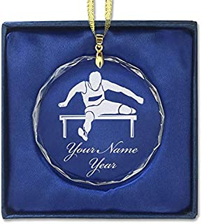 LaserGram Christmas Ornament, Hurdles Man, Personalized Engraving Included (Round Shape)