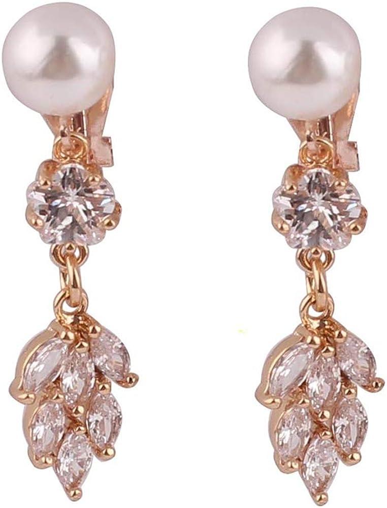 HAPPYAN High-grade Copper AAA Cubic Zircon Pearl Long Flower Leaf Shape Clip on Earrings No Pierced for Women Party Wedding Senstive ears hypoallergenic Clip-ons
