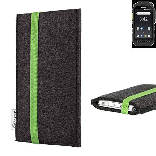 flat.design vegane Handy Tasche Coimbra kompatibel mit Ruggear RG725 - Schutz Hülle Tasche Filz vegan fair grün