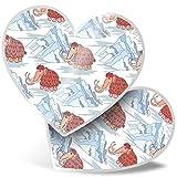 Impresionante pegatinas de corazón de 15 cm – Wooly Mammoth Ice Age Animal Fun calcomanías para portátiles, tabletas, equipaje, libros de chatarra, frigorífico, regalo genial #21835